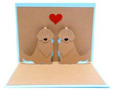 Golden Retrievers In Love Pop Up Card