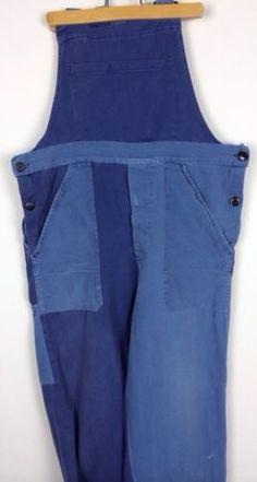 Vintage-patche-work-wear-corvee-dungarees-salopette-travailleur-Hobo-PAYSAN-BLEU-FRANCE
