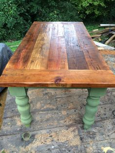 foot rustic heart pine farm table by WellsWorksFurniture Compact Table And Chairs, Dining Room Table Chairs, Rustic Farm Table, Farmhouse Table, Farmhouse Style Furniture, Rustic Furniture, Pine Table, A Table, Distressed Furniture Painting