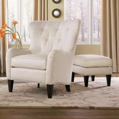 Maybe a real option, no price listed.. 502 Style Group Tufted Wing Back Chair with Ottoman by Smith Brothers   Wolf Furniture