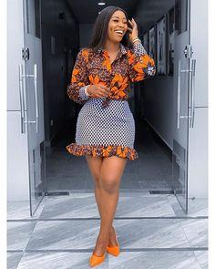 African Clothing for Women Ankara Shirt African Print Skirt Mini Skirt Africa Dress African fas African Print Skirt, African Print Dresses, African Print Fashion, Africa Fashion, Ankara Dress Styles, Ankara Blouse, African Prints, Modern African Fashion, African Print Clothing