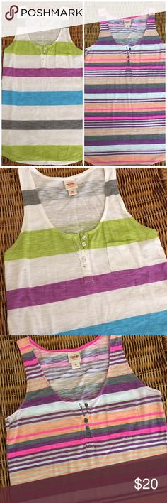Striped • Tank Top • Duo TWO tank tops. 65% poly, 35% rayon. Buttons and pockets in front. Long and lean fit. Both small, both perfect condition. Mossimo Supply Co Tops Tank Tops