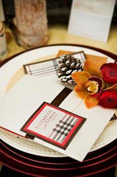 Festive Winter Place Setting   Weddings   Rachel A. Clingen Wedding And Event Design