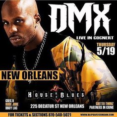 @TattedUpEvents Presents:  Throwback Concert Series @Hobnola  225 Decatur St New Orleans LA  @dmx Live in Concert  Also Performing Live  @dboylackylac Ghetto Twinz  Partners n Crime  Hosted by @rudejudemr504 & @greg_dee  It's going to be a Unforgettable Event  Get your Tickets Now www.ticketmaster.com Call (504)310-4999 or (870)540-5021 for more info  Early Bird General Admission $40  General Admission $50  Balcony seats $75  #DMX #TattedUpEvents #HouseOfBluesNewOrleans #NolaNight…