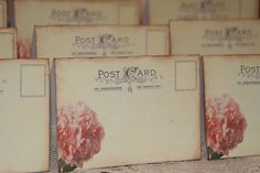 100 - Wedding Place Cards - Vintage Post Cards Placecards Tented Style - Escort Cards - Tent Table Wedding Peach Hydrangea Placecards by GreenAcresCottage on Etsy https://www.etsy.com/listing/180684344/100-wedding-place-cards-vintage-post
