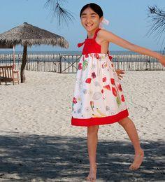 Girl dress/see food dress/Cotton dress/strap dress/Sun by Danideng, $39.00
