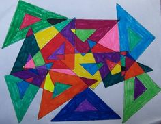 Wk 4 Abstract.  Give each student a different shape with the inside cut out.  Trace inside and outside at least five times, overlapping.  Color each new area!