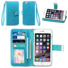 Amazon.com: IZENGATE Apple iPhone 6 Plus (5.5 Inch) Wallet Case - Executive Premium PU Leather Flip Cover Folio with Stand (Turquoise Blue): Cell Phones & Accessories