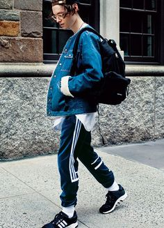 mens street style denim adidas sneaker