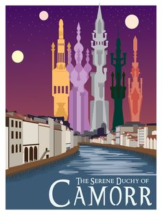 Travel poster I designed for the city of Camorr, setting of The Lies of Locke Lamora, by Scott Lynch. Designed to evoke the feeling of vintage travel posters, and constructed in Illustrator.