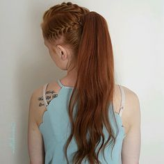 Frenchbraids into high ponytail using @newuhairextensions