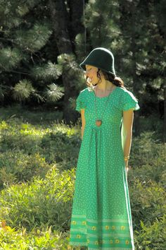 1970s Green Floral Maxidress... Boho 70s Maxi Dress... by AstralBoutique, $38.00