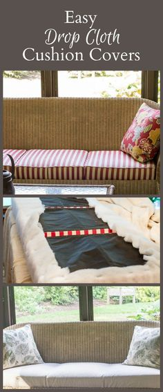 It's pretty easy to make drop cloth cushion covers for your couch or chair. The…