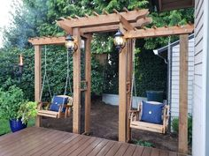 Arbor Arch With Dual Swings : 64 Steps (with Pictures) - Instructables Back Patio, Backyard Patio, Backyard Landscaping, Patio Decks, Outdoor Spaces, Outdoor Living, Outdoor Decor, Outdoor Kitchens, Patio Design
