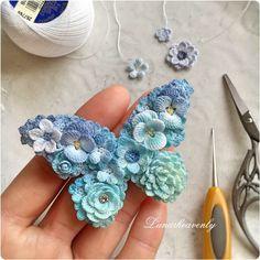 Stunning & Very Delicate __ Butterfly crochet brooch/art by Lunarheavenly on Facebook. Wow!