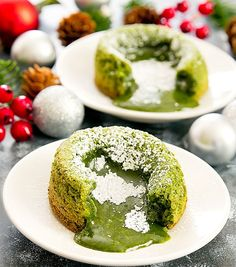 Matcha green tea is mixed with white chocolate to create delicate cakes with a molten lava center. It's an easy dessert to make for a dinner party or date night. I am all about matcha flavored desserts and even more so around the holidays since the natural green fits in with Christmas themed desserts. I …