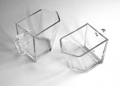 Pair of glass scoops pitchers industrial by agardenofdreams