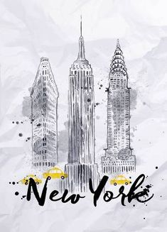 Drawing Free art print of Watercolor New York buildings. Watercolor New York skyscrapers, Empire State Building, Chrysler Building in vintage style drawing with drops and splashes on crumpled paper New York Poster, London Poster, Empire State Building, Building Drawing, Building Art, Chrysler Building, Bullet Book, Deco New York, New York Drawing