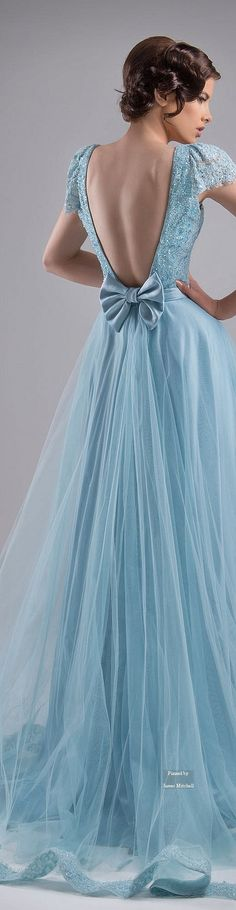 Chrystelle Atallah ~ Couture Spring Ice Blue Gown w Open Back Bow Detail + Pleated Full Skirt  2015