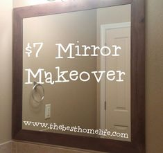 60 Ideas Diy Bathroom Mirror Makeover Woods For 2019 Bathroom Mirror Makeover, Bathroom Mirrors Diy, Rental Bathroom, Simple Bathroom, Bathroom Ideas, Remodled Bathrooms, Diy Framed Mirrors, Bathroom Organization, Bathroom Decor Ideas On A Budget