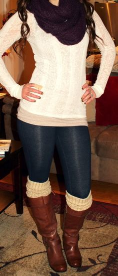 Scarf, Leggings, Chunky Sox & Boots?? Super Cute Outfit!!