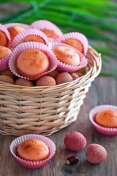 Lychee and rose muffins