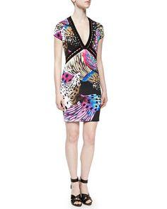 Open-Weave Nemo-Print Dress, Pink/Black by Roberto Cavalli at Bergdorf Goodman.
