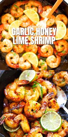 Garlic Honey Lime Shrimp Garlic Honey Lime Shrimp,Clean Eating – Rezepte Learn how to make these garlicky, sweet, sticky skillet shrimp with fresh lime in 10 minutes. This Garlic Honey Lime Shrimp recipe is. Lime Shrimp Recipes, Seafood Recipes, Cooked Shrimp Recipes, Seafood Appetizers, Meals With Shrimp, Shrimp Dinner Recipes, Shrimp In Crockpot, Food With Shrimp, Beach Dinner Recipes
