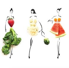 San Francisco-based artist Gretchen Röehrs has created a series of drawings that are good enough to eat—and wear. Fruit And Veg, Fruits And Veggies, Vegetables, Fashion Collage, Fashion Art, Dame Nature, Matcha Benefits, Flower Fashion, Food Illustrations