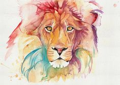 Lion greetings card birthday card anniversary from original handmade watercolour. by LauraSladeArt on Etsy https://www.etsy.com/listing/250909755/lion-greetings-card-birthday-card