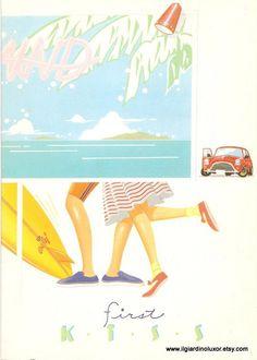 Rare 80s Vintage First Kiss notebook Japan by IlGiardinoLuxor. $6.50 USD, via Etsy.