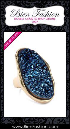 "Bold Rings | Bold Ring | Rings | Chunky Ring | Statement Ring | Cocktail Ring | Bien Fashion ♥ Marcia Moran ""Midnight"" 18k Gold-Plated Dark Blue Druzy Organic Stone Ring $270.00"