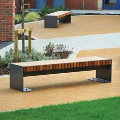 Contemporary Desford I bench available in Iroko hardwood or Douglas Fir. Ideal for contemporary surroundings. City Furniture, Street Furniture, Wooden Furniture, Outdoor Furniture, Outdoor Decor, Curved Outdoor Benches, Entry Hallway, Douglas Fir, Metal Fabrication