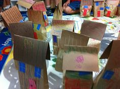 learning their home address---kids make their house from paper bags and add their address