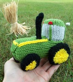 Free Knitting Pattern for Tractor Toy - When knitted with worsted weight yarn and US Size 6 needles, this tractor softie measures about 5 inches long. Designed by Ilana Marks