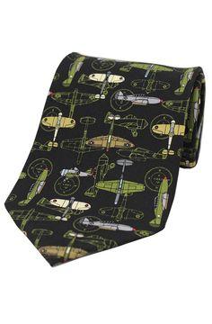 Soprano War Plane On Black Ground Silk Tie www.ties-online.com/war-plane-on-black-ground-silk-tie £18.95
