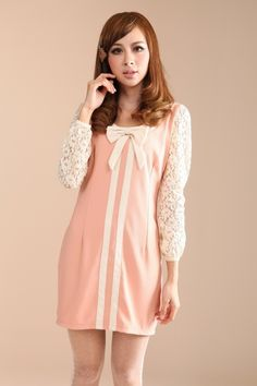 Wholesale Casual & Fashionable Bow-tie Lace Spliced Sleeve Slim Dress----Pink top dresses