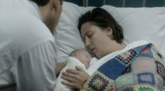 "A really poignant scene in ""Call the Midwives"" - Chummy wakes up happy and healthy under a blanket crocheted by her colleagues."