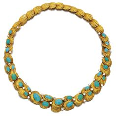 Turquoise and diamond necklace, Van Cleef & Arpels, 1960s Designed as a series of feather motifs, set with cabochon turquoise and brilliant-cut diamonds, length approximately 400mm, signed Van Cleef & Arpels, numbered, French assay and maker's marks, case stamped Van Cleef & Arpels