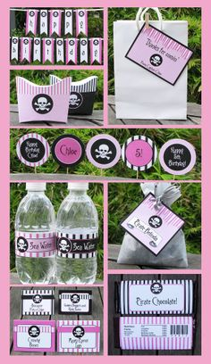 Pink Pirate Birthday Invitation & Printable Party Collection, EDITABLE text PDF file - you personalize at home with Adobe Reader