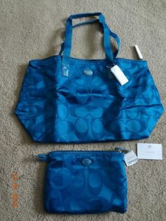 Coach Dark Plume(Blue) Foldable Tote/Carrying Case/Purse NWT MSRP $148.00 Wow