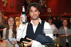 Oliver Wnuk with a Babo blue beer during the premiere for the film 'Maennertag' at Mathaeser Filmpalast on September 5, 2016 in Munich, Germany.