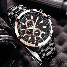 41f17b96664 CURREN 8023 Fashion large dial leisure business watches Men quartz watch  waterproof watch - Black+ · Men s WatchesRelógios EsportivosRelógios ...