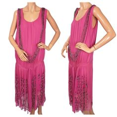 Vintage 1920s Pink Beaded Silk Chiffon Dress Flapper Style S - M from poppysvintageclothing on Ruby Lane