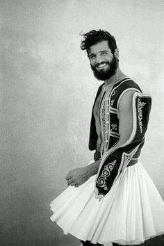 Greece: proving that Scotland isn't the only place where the men are manly enough to wear skirts This guy looks like my cousin John. Greek Model, Beautiful Men, Beautiful People, Greek Culture, Men In Kilts, Kilt Men, Komplette Outfits, Moustaches, Folk Costume