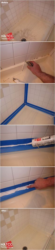 How to replace black moldy caulk and clean a tile shower. Ugh. Gonna have to do this with one of our showers since every other pinterest tip on cleaning moldy caulk just ain't making it looking good as new! Ewwwwww.