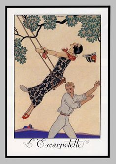 French Art Deco Print, The Swing, Cream and Coral Orange for Sunny Guest Room Makeover, Powder Room Decor, Spring and Summer Decoration by swanboroughprints on Etsy https://www.etsy.com/ca/listing/266383309/french-art-deco-print-the-swing-cream