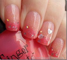 Valentine's Day Nail Art Designs to Fall in Love with! Sparkly Valentine's Day Gradient NailsSparkly Valentine's Day Gradient Nails Great Nails, Cute Nail Art, Fabulous Nails, Gorgeous Nails, Love Nails, Perfect Nails, Simple Nails, Frensh Nails, Nails Polish