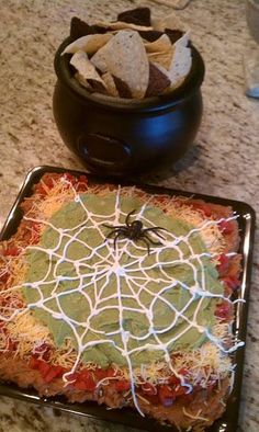 64 Non-Candy Halloween Snack Ideas ~ 5 layer dip with a sour cream spider web! - 64 Non-Candy Halloween Snack Ideas ~ 5 layer dip with a sour cream spider web! Entree Halloween, Halloween Snacks For Kids, Halloween Goodies, Halloween Birthday, Halloween Recipe, Halloween 5, Halloween Potluck Ideas, Halloween Cupcakes, Halloween Taco Dip