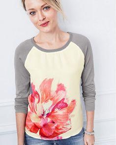 Printed Silk-Front Pullover Garnet Hill